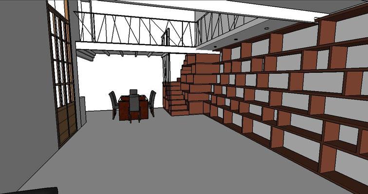 Anteproyecto para una escalera/biblioteca