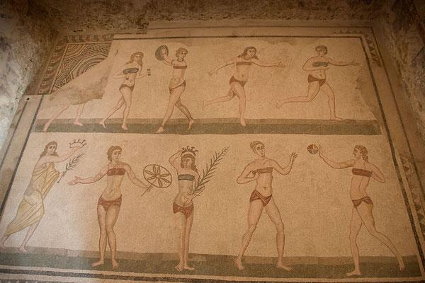 Die Bikinimädchen der Villa Casale del Romano, Region Enna, Sizilien