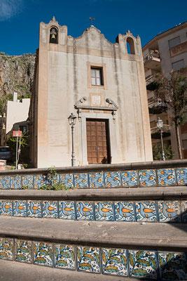 Mosaikkunst in den Straßen von Cefalù, Sizilien