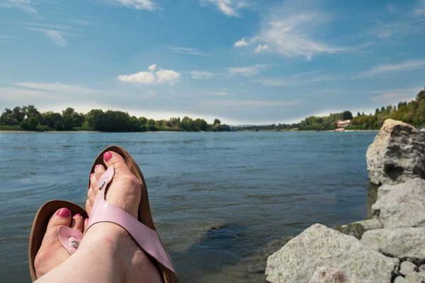 An Italiens größtem Fluss, Po, bei Cremona, Lombardei, Italien