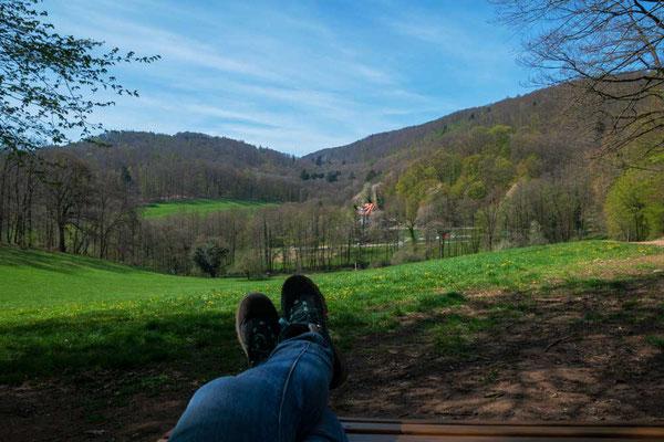 Pause mit Aussicht - hinter den Bäumen verbirgt sich die Burgruine Rodenstein, Odenwald