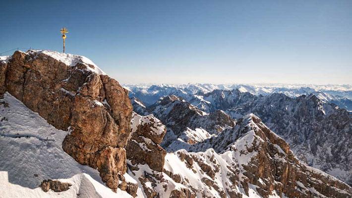 Zugspitze mit Blick nach Osten, Richtung Watzmann