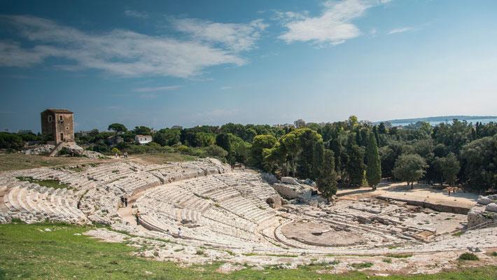 Panorama des Teatro Greco im Archäologischen Park, Syrakus