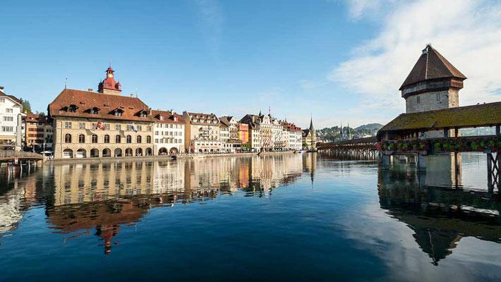 Am Rathaus-Steg über die Reus, Luzern, CH