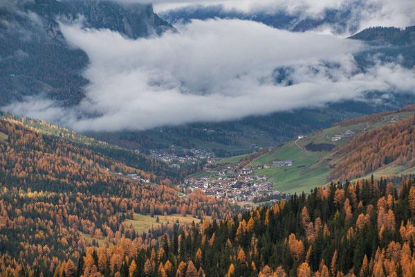 Dort unten liegt St. Kassian, wo wir für 5 Tage untergebracht sind, Region Alta Badia