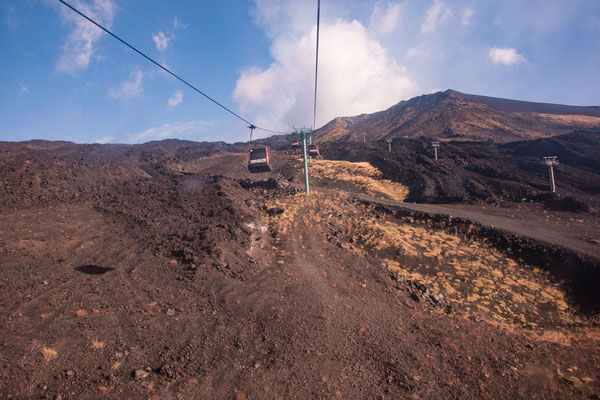 Die Seilbahn zur Bergstation des Ätna, Sizilien