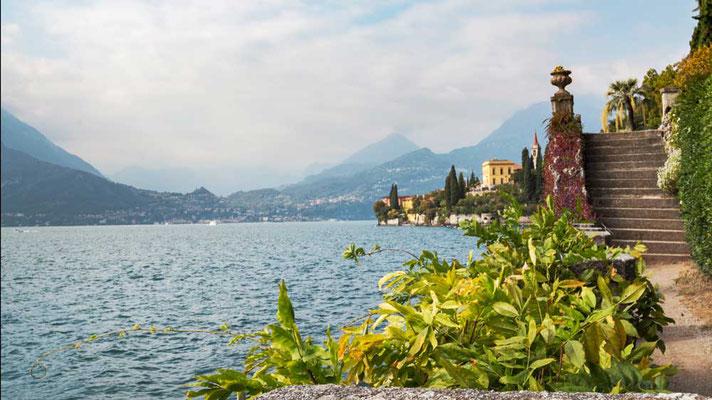 Villa Monastero - der botanische Garten von Varenna, eine Sammlung exotischer Pflanzen am Ostufer des Comer Sees, Comer See Region, Lombardei, Italien