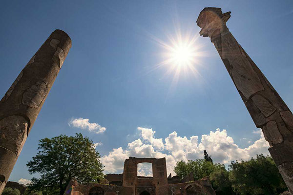 Angekommen in der Villa Adriana, erbaut zwischen 118 und 134 v Chr.