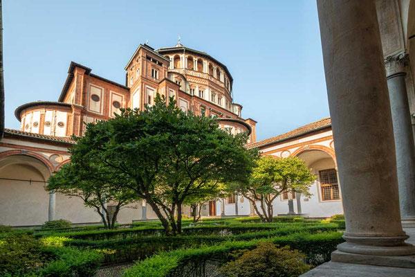 Kreuzgang hinter Santa Maria delle Grazie, Mailand, Lombardei, Italien