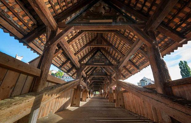 Spreuerbrücke, eine der drei Holzgedeckten Brücken in Luzern, CH