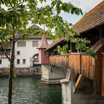 Auf dem Rückweg zum Auto geht´s noch einmal über die Spreuerbrücke, Luzern, CH