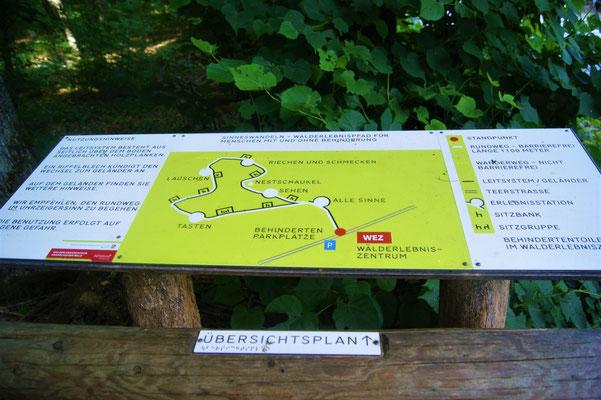 Übersichtsplan vom Walderlebnispfad Sinneswandeln im Gramschatzer Wald