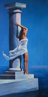 """""""Aphrodite"""" griechische Impression 50x100cm Acryl auf Maltuch"""