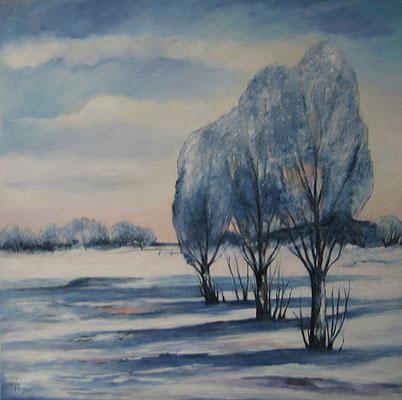 Wintertag mit Pappeln 100x100cm Acryl auf Maltuch
