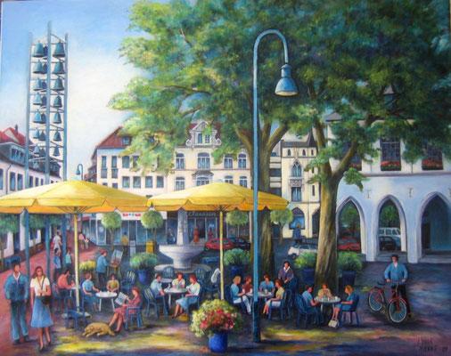 Marktplatz Erkelenz 100x80cm Acryl auf Maltuch