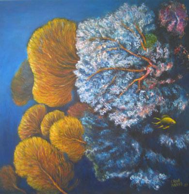 Korallenriff 100x100cm Acryl auf Maltuch