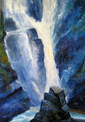 Wasserfall 70x100cm Acryl- Mischtechnik auf Maltuch