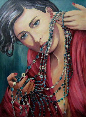 Frau mit Chanel-Ketten 60x80cm Acryl auf Maltuch