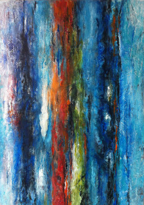 Farbenspiel 70x100cm Acryl Mischtechnik auf Maltuch