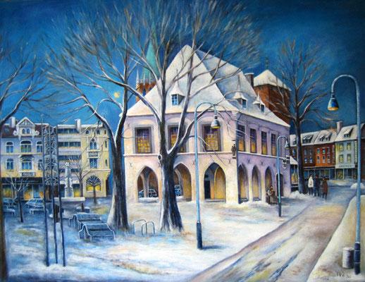Rathaus im Schnee  70x90cm Acryl auf Maltuch