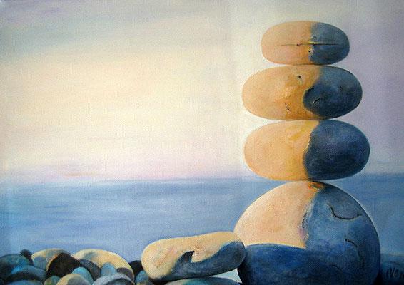 Kieselsteine  50x70cm Acryl auf Maltuch