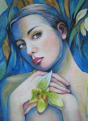 Frau mit Orchides 30x40cm Acryl auf Maltuch