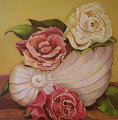 Rosen in Muschelvase 60x60cm Acryl auf Maltuch