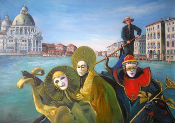 Karneval in Venedig 70x100cm Acryl auf Maltuch
