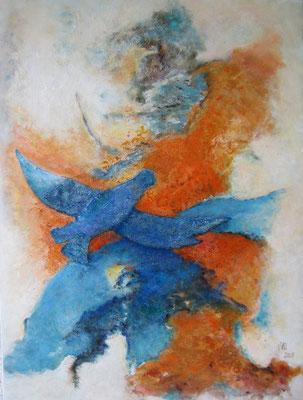 Vogelfrei 60x80cm Acryl auf Maltuch