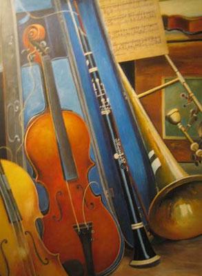 Stillleben mit Geigen 60x90cm Acryl auf Maltuch