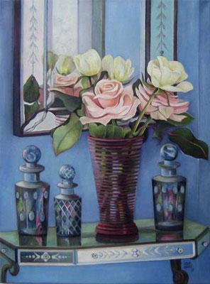 Rosen vor venezianischem Spiegel 60x80cm Öl auf Maltuch