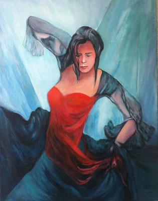 Flamenco-Tänzerin 70x90cm Acryl auf Maltuch