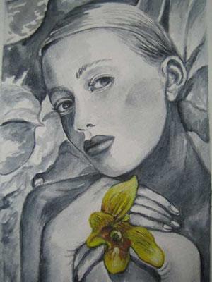 Frau mit Orchidee 9x15cm