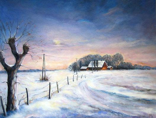 Winter am Niederrhein 80x100cm Acryl auf Maltuch