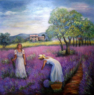 Provence 100x100cm Oel auf Leinwand