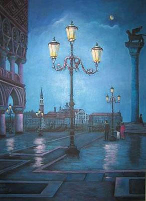 Venedig bei Nacht 60x80cm Acryl auf Maltuch
