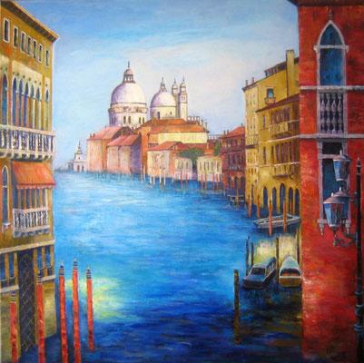 Venedig Canal Grande 80x80cm Acryl auf Maltuch