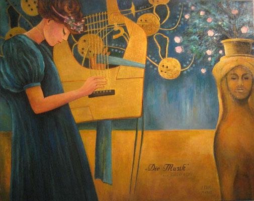 """""""Die Musik"""" nach Gustav Klimt Öl auf Maltuch 80x100cm"""
