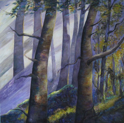 Lichtspiel im Wald  80x80cm Acryl auf Maltuch