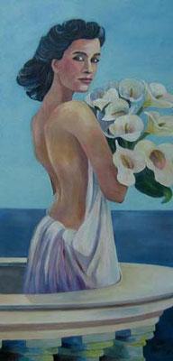 """Frau mit Callas """"Chloe"""" 50x100cm Acryl auf Maltuch"""