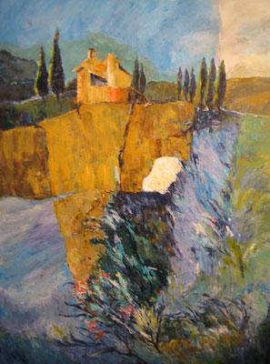 Toscanische Landsch. gesp. 60x80cm Acryl auf Maltuch