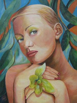 Frau mit Orchidee 60x80cm Acryl auf Maltuch