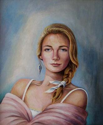 """Porträt - """"Sabine"""" 50x60cm Acryl auf Maltuch"""