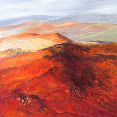 Crete  - toskanische Landschaft 100x100cm Acryl auf Maltuch