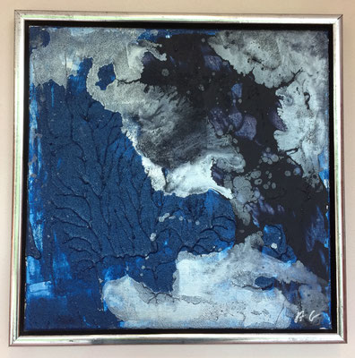 40 x 40 x 2 cm, gerahmt - Strukturmaterial, Acryl, Airbrushtinte