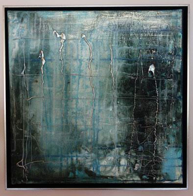 40 x 40 cm gerahmt - Acryl, gespachtelt, Heißkleber
