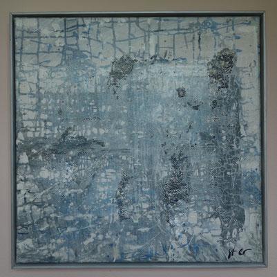 50 x 50 x 2 cm gerahmt - Acryl, Wasser, Glasperlenmedium