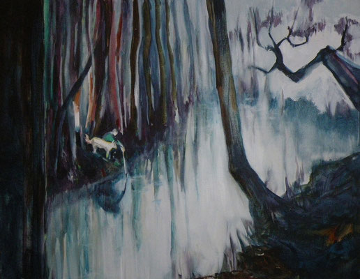 forêt, chien, homme - 80x60cm