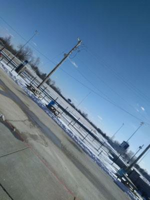 Track, mit Schnee bedeckt, juhu, rennen!
