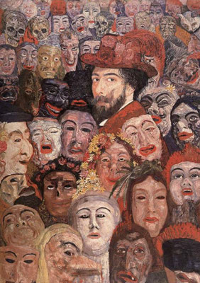 61 -James Ensor autoportrait aux masques   1899